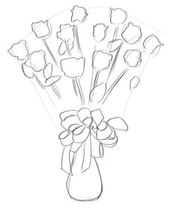 Как-нарисовать-букет-роз-карандашом-поэтапно-3
