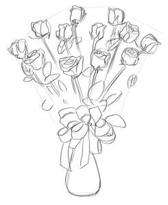 Как-нарисовать-букет-роз-карандашом-поэтапно-4