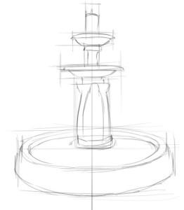 Как-нарисовать-фонтан-карандашом-поэтапно-2
