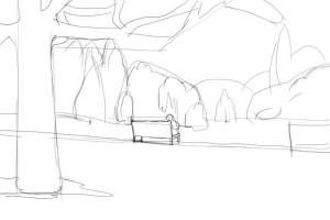 Как-нарисовать-парк-карандашом-поэтапно-2