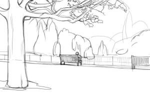 Как-нарисовать-парк-карандашом-поэтапно-3