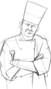 Как-нарисовать-повара-карандашом-поэтапно-3