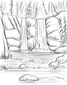 Как-нарисовать-водопад-карандашом-поэтапно-4