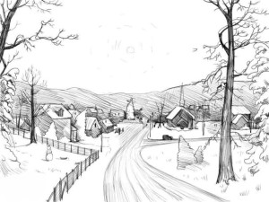 Как-нарисовать-зиму-карандашом-поэтапно-5
