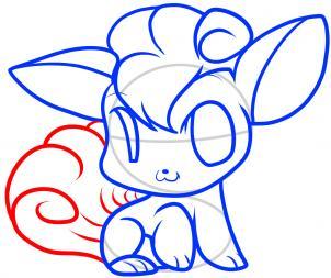 Как нарисовать Чиби Vulpix, Vulpix