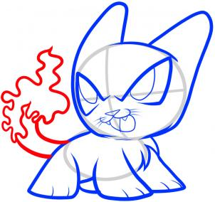 Как нарисовать Китти Charizard, Charizard кошка