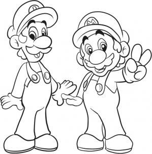 нарисованный Марио и Луиджи