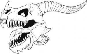 нарисованный череп дракона
