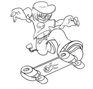нарисованный скейтбордист