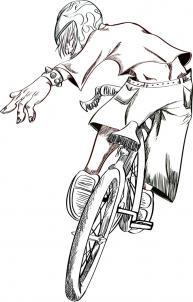 нарисованный велосипедист