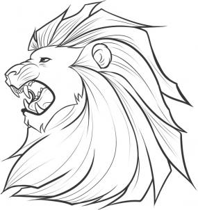 нарисованная голова льва