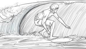 нарисованный серфинг