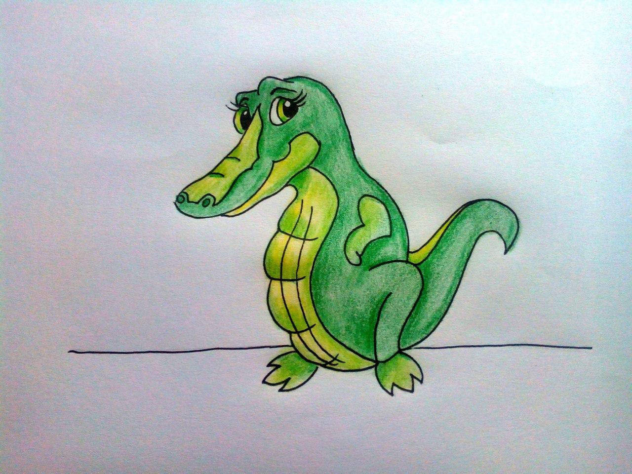 нарисованный крокодил
