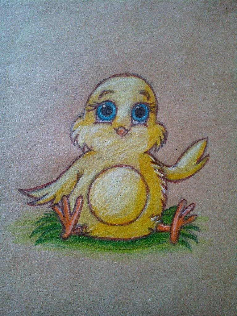 нарисованный цыпленок