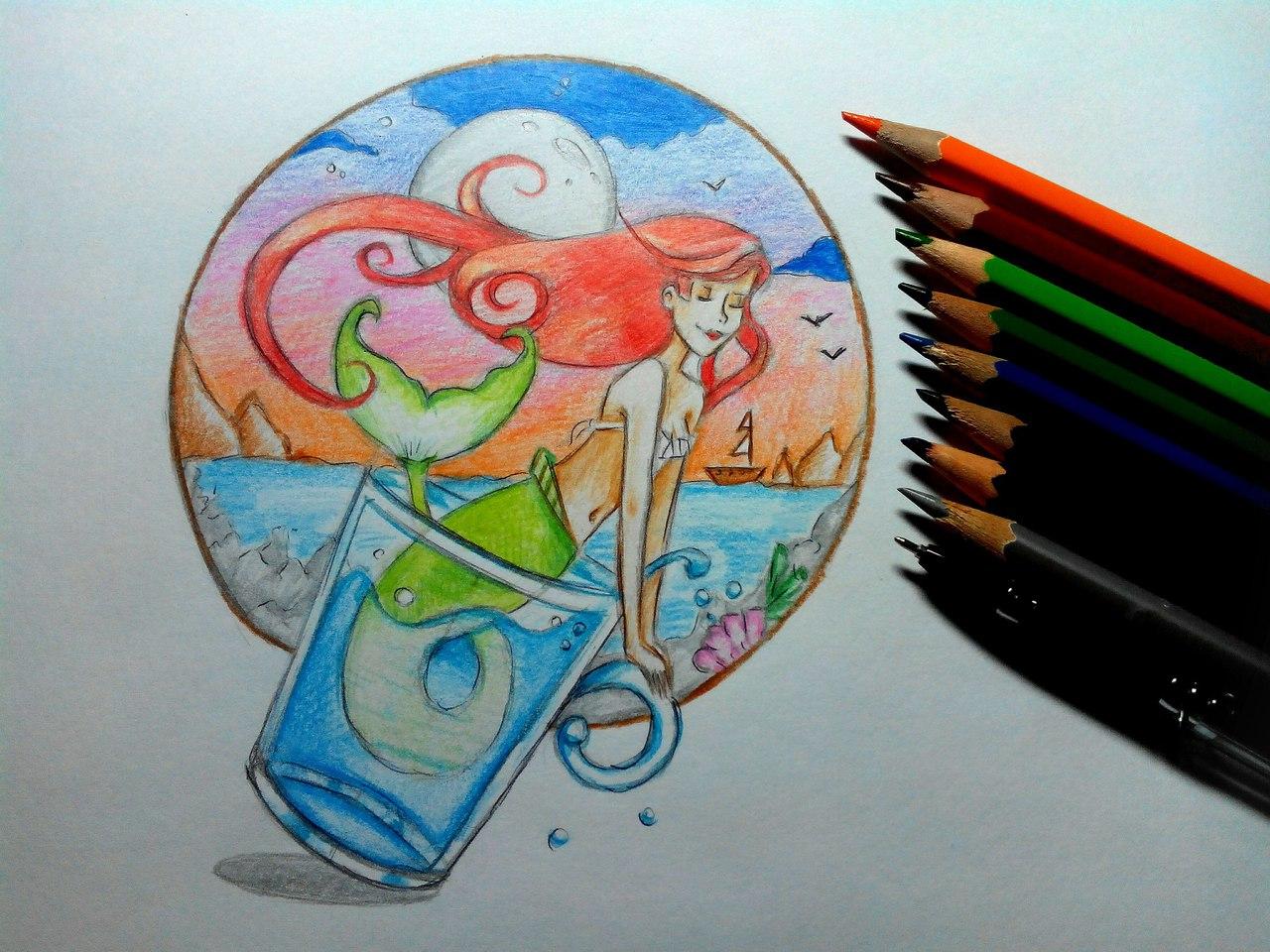 нарисованная русалочка