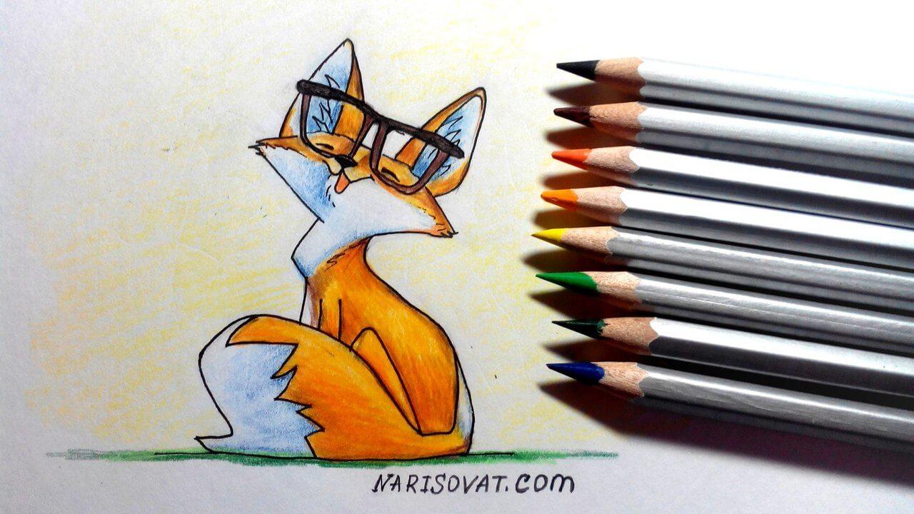 нарисованная лиса в очках