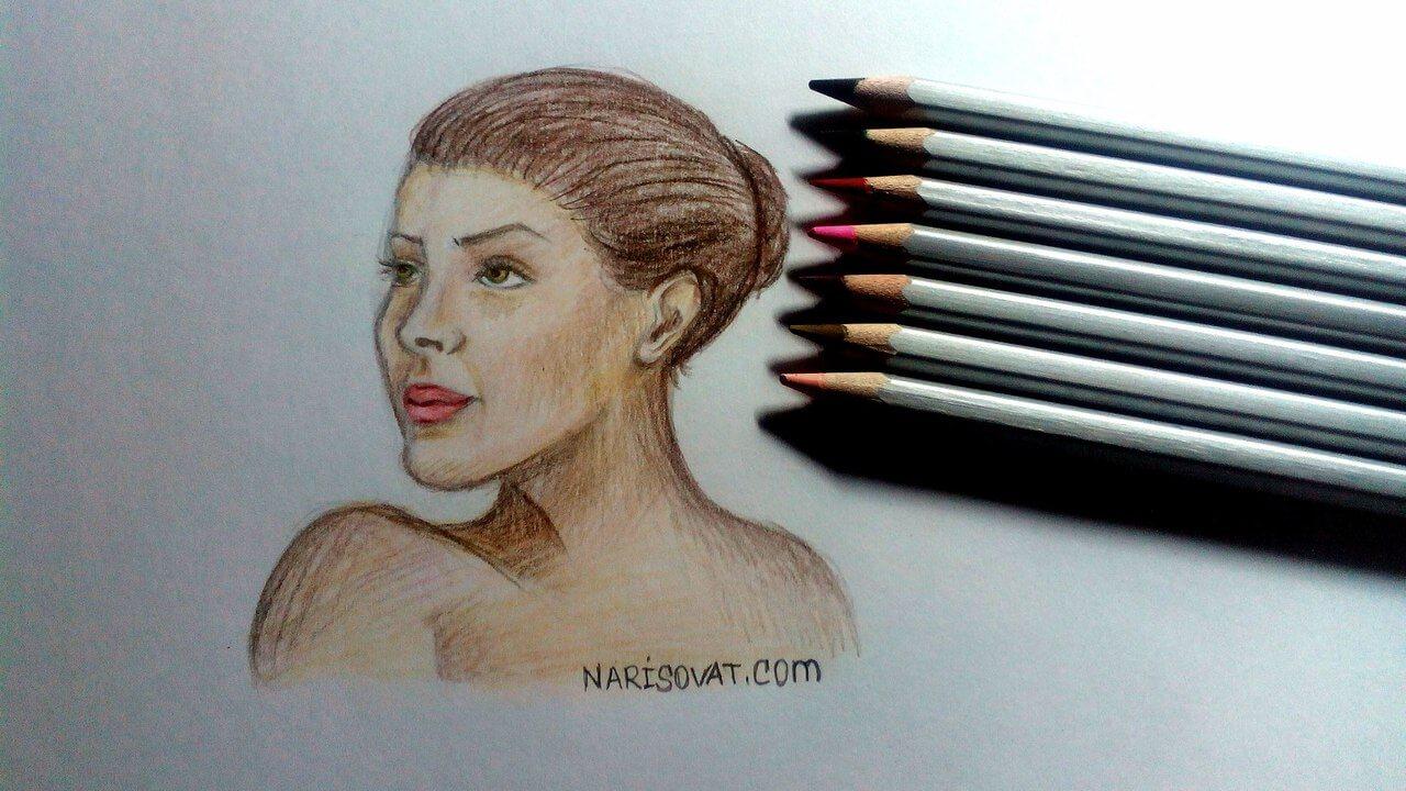 нарисованный портрет женщины