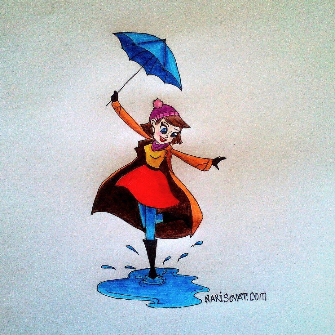 нарисованная девушка с зонтом